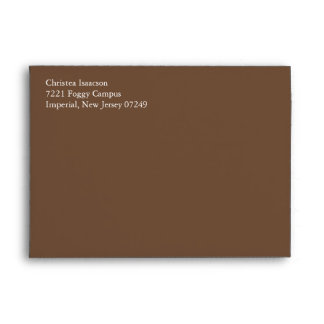 Coffee Brown A7 5x7 Custom Pre-addressed Envelopes