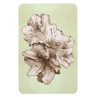 Coffee Brown Illustrated Flower + Customize Color Rectangular Photo Magnet