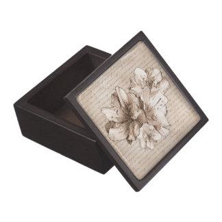 Coffee Brown Illustrated Flower Floral Love Letter Jewelry Box