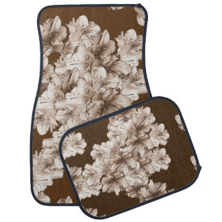 Coffee Brown Illustrated Flower Floral Pattern Car Floor Mat