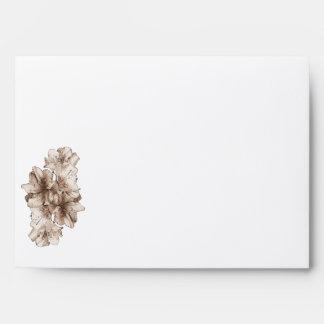 Coffee Brown Illustrated Flower Floral Pattern Envelopes