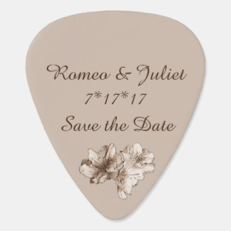 Coffee Brown Illustrated Flower Floral Pattern Guitar Pick