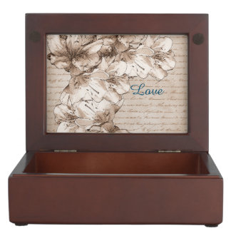 Coffee Brown Illustrated Flower Floral Pattern Keepsake Box