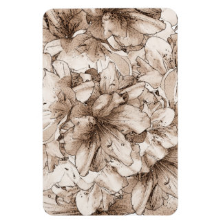 Coffee Brown Illustrated Flower Floral Pattern Rectangular Photo Magnet