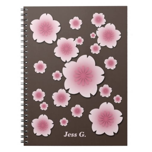 Coffee Brown Pink Cherry Blossoms Custom Notebook