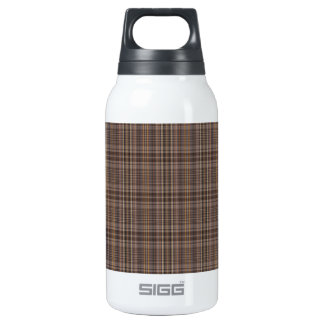 Coffee Brown Plaid Pattern Insulated Water Bottle