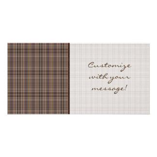 Coffee Brown Plaid Pattern Photo Greeting Card
