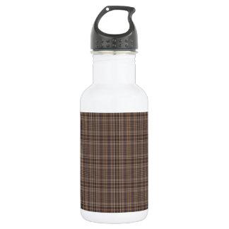 Coffee Brown Plaid Pattern Water Bottle