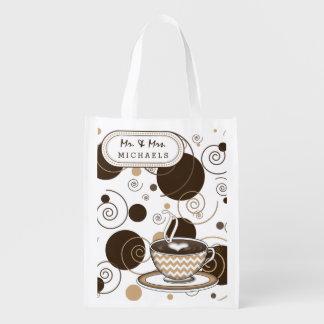 Coffee Brown Polka Dots and Swirls Reusable Grocery Bag