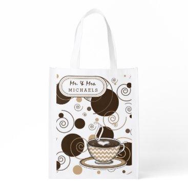 Coffee Themed Coffee Brown Polka Dots and Swirls Reusable Grocery Bag