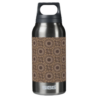 Coffee Brown Repeating Pattern Insulated Water Bottle