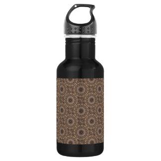 Coffee Brown Repeating Pattern Water Bottle