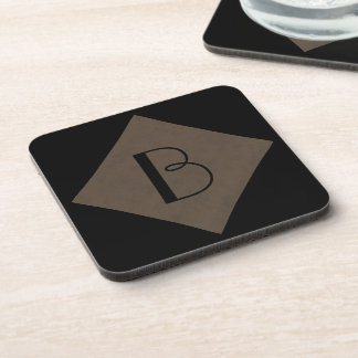 Coffee Brown Velvet Personalized Home Casino Drink Coaster