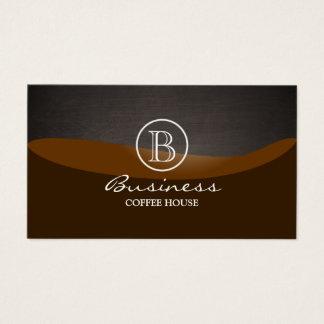 Coffee Brown Wave Monogram Plain Business Card