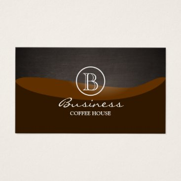 Coffee Themed Coffee Brown Wave Monogram Plain Business Card