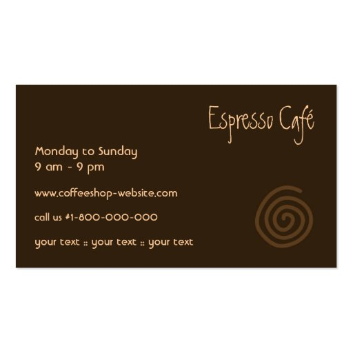 Coffee Business Card (back side)