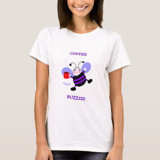 Coffee Buzz Caffeine Lover Purple Cartoon Bee T-Shirt