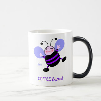 Coffee Buzz Cartoon Purple Busy Bee Cute Funny Magic Mug