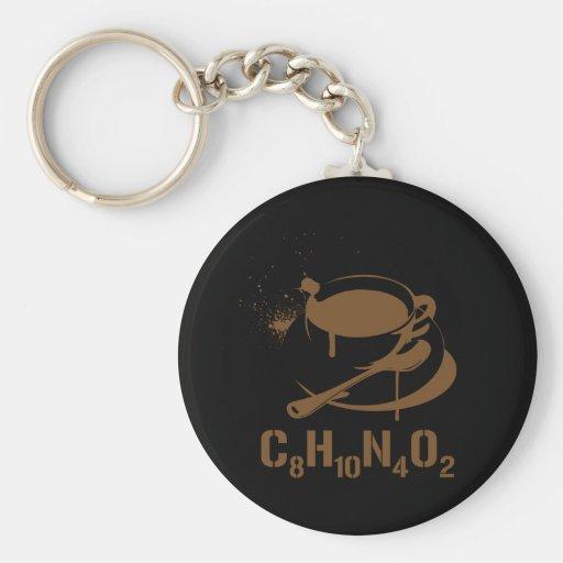 Coffee C8H10N4O2 Basic Round Button Keychain