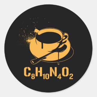Coffee C8H10N4O2 Classic Round Sticker