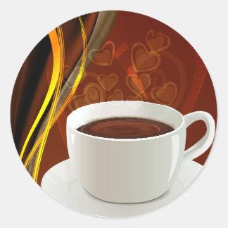 Coffee Cafe Art Classic Round Sticker