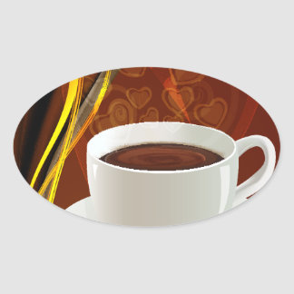 Coffee Cafe Art Oval Sticker