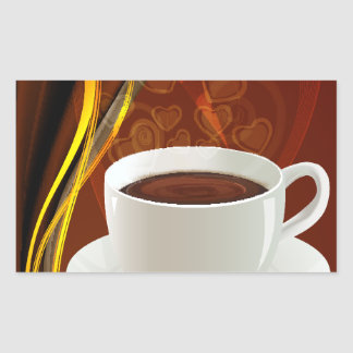 Coffee Cafe Art Rectangular Sticker