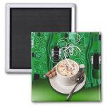 """Coffee Café"" by Cheryl Daniels (emerald) Refrigerator Magnet"