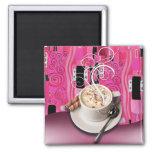 """Coffee Café"" by Cheryl Daniels (pink) Magnet"