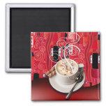 """Coffee Café"" by Cheryl Daniels (red) Fridge Magnets"