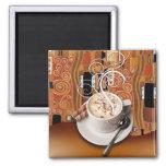 """Coffee Café"" by Cheryl Daniels (sienna) Refrigerator Magnets"