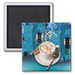 """Coffee Café"" by Cheryl Daniels (teal) Refrigerator Magnet"