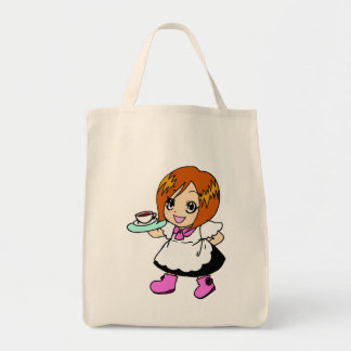 Coffee , cafe , girl , maid canvas bags