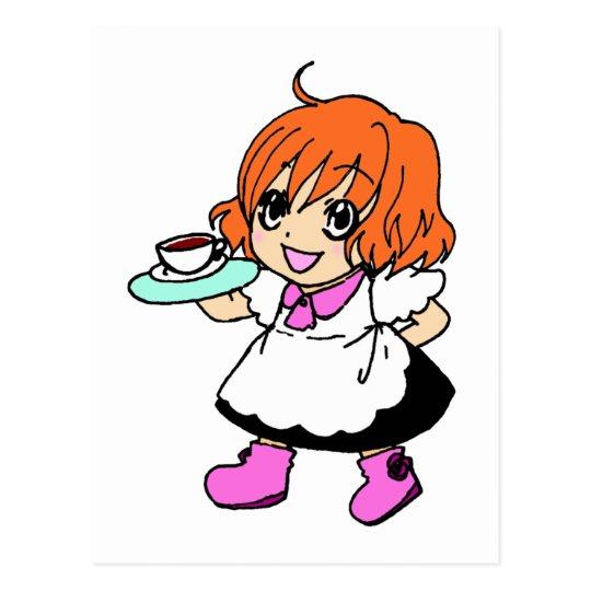 Coffee , cafe , girl , maid postcard