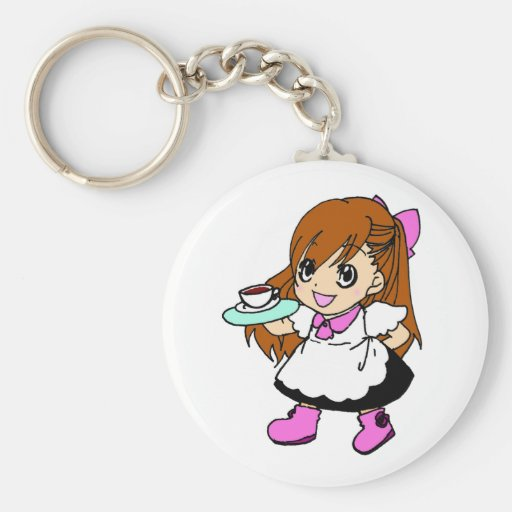 Coffee , cafe , maid key chain
