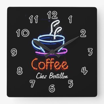 Coffee Themed Coffee Cafe Neon Sign Personalized Square Wall Clock