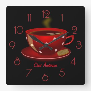Coffee Themed Coffee Cafe Red and Black Personalized Square Wall Clock