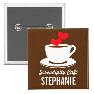 Coffee Café Shop Custom Employee Name Badge 2 Inch Square Button