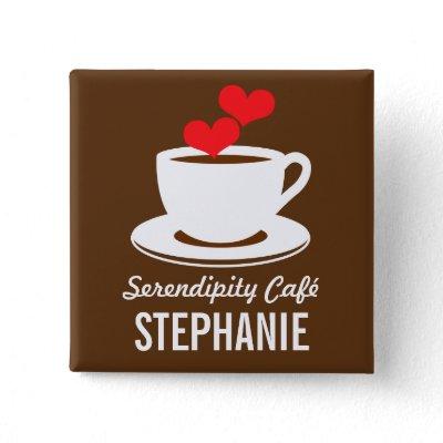 Coffee Café Shop Custom Employee Name Badge Pinback Button