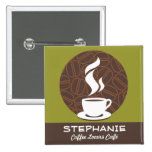 Coffee Café Shop Custom Employee Name Badge Button