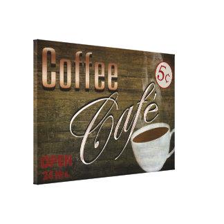 COFFEE CAFE' SIGN - 24 X 16 WRAP-AROUND CANVAS
