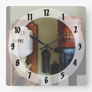 Coffee Can and Coffee Grinder Square Wall Clock