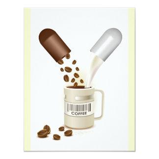 COFFEE CAPSULES BEANS MILK VECTOR ICON LOGO PILLS 4.25X5.5 PAPER INVITATION CARD