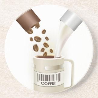 COFFEE CAPSULES BEANS MILK VECTOR ICON LOGO PILLS DRINK COASTER
