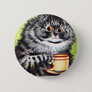 Coffee Cat (Vintage Image) Button