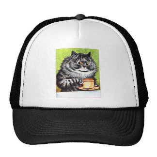 Coffee Cat (Vintage Image) Hats