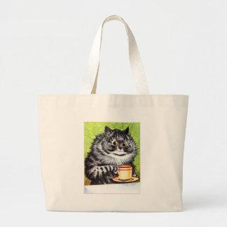 Coffee Cat (Vintage Image) Large Tote Bag