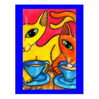 Coffee Cats Postcard