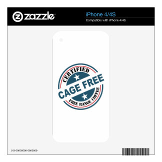 Coffee Certified Free Range and Cage Free fun iPhone 4S Decals