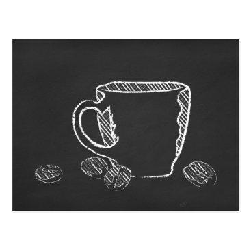 Coffee Themed coffee CHALK ART Postcard